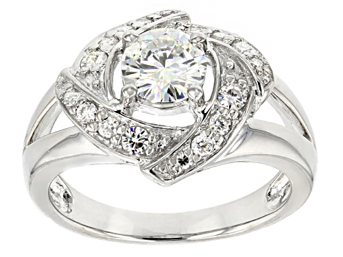 Photo of Pre-Owned Moissanite Fire ® 1.12ctw Diamond Equivalent Weight Round Platineve™ Ring. - Size 7