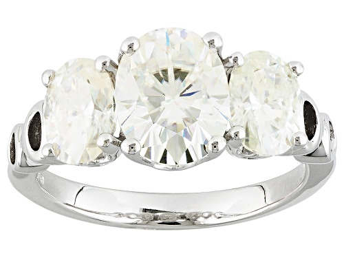 Photo of Pre-Owned Moissanite Fire® 3.90ctw Diamond Equivalent Weight Oval Platineve™ Ring - Size 7