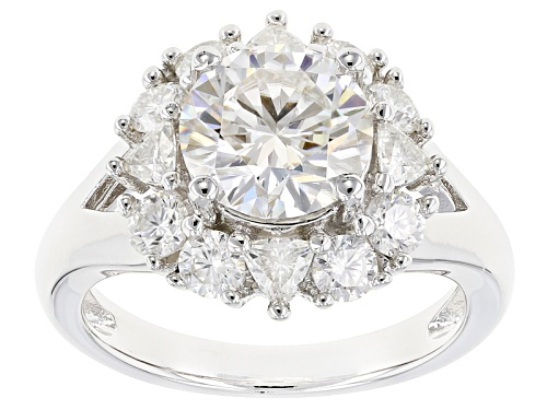 Photo of Pre-Owned Moissanite Fire® 3.36ctw Diamond Equivalent Weight Round And Trillion Cut Platineve™ Ring - Size 11
