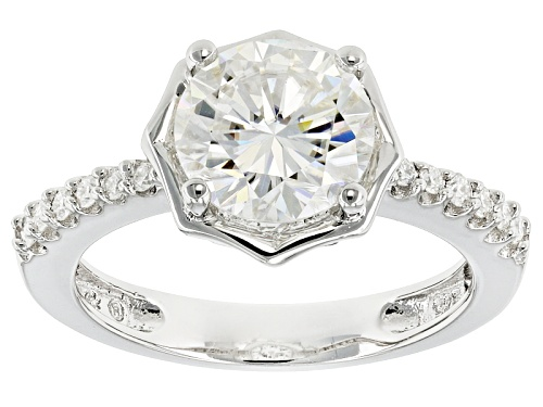 Photo of Pre-Owned Moissanite Fire® 2.32ctw Diamond Equivalent Weight Round Platineve™ Ring - Size 7