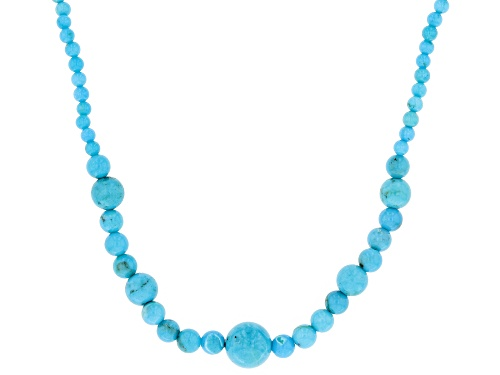 Photo of Pre-Owned Southwest Style By Jtv™ 4MM-8MM Round Turquoise Bead Rhodium Over Sterling Silver Necklace - Size 18