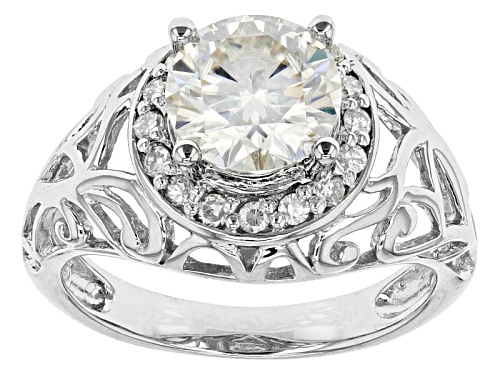 Photo of Pre-Owned Moissanite Fire® 2.22ctw Diamond Equivalent Weight Round Platineve™ Ring - Size 7