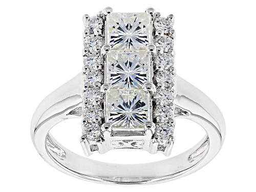 Photo of Pre-Owned Moissanite Fire® 2.22ctw Dew  Square Brilliant And Round Platineve™ Ring - Size 8