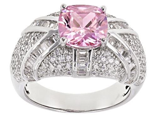 Photo of Pre-Owned Bella Luce ® 5.75CTW Pink & White Diamond Simulants Rhodium Over Silver Ring (3.74CTW DEW) - Size 9