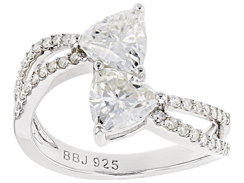 Photo of Pre-Owned Moissanite Fire® 1.94ctw Dew Trillion Cut And Round Platineve™ Ring - Size 6