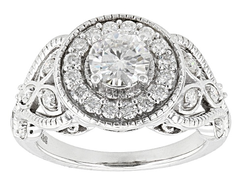 Photo of Pre-Owned Moissanite Fire ® 1.61ctw Dew Round Platineve™ Ring - Size 7