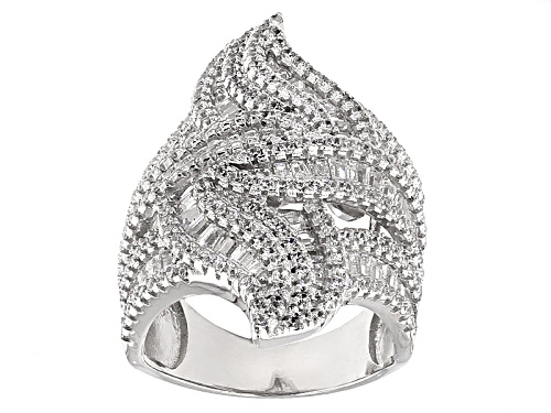 Photo of Pre-Owned Bella Luce ® 5.48ctw Diamond Simulant Rhodium Over Sterling Silver Ring (3.27ctw Dew) - Size 5