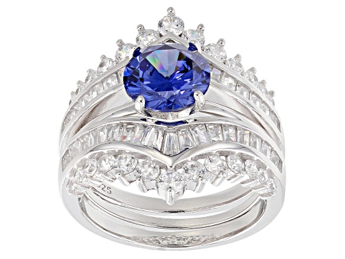 Photo of Pre-Owned Bella Luce ® 6.76CTW Esotica ™ Tanzanite & Diamond Simulants Rhodium Over Silver Ring With - Size 9