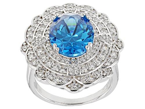 Photo of Pre-Owned Bella Luce ® 9.93CTW Esotica ™ Neon Apatite & White Diamond Simulants Rhodium Over Silver - Size 7