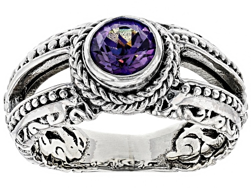 Pre-Owned Artisan Collection Of Bali™ 1.00ct 6mm Round Talkative™ Mystic Topaz® Silver Solitaire Rin - Size 8