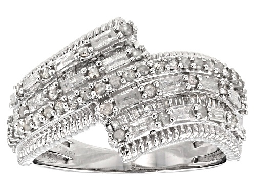 Photo of Pre-Owned .75ctw Round And Baguette White Diamond Rhodium Over Sterling Silver Ring - Size 8