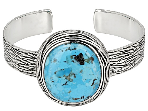 Photo of Pre-Owned Southwest Style by JTV™ Oval Turquoise Sterling Silver Cuff Bracelet