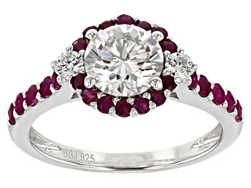 Photo of Pre-Owned Moissanite Fire® 1.32ctw Dew And .98ctw Ruby Platineve™ Ring - Size 11