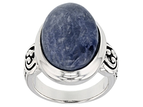 Photo of Pre-Owned 18x13mm Oval Sodalite Sterling Silver Solitaire Ring - Size 7