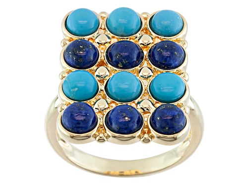 Photo of Pre-Owned Tehya Oyama Turquoise™ Round Blue Kingman Turquoise And Round Lapis 18k Gold Over Brass Ri - Size 12