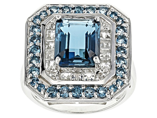 Photo of Pre-Owned 4.25ctw Emerald Cut And Round London Blue With .62ctw Square And Round White Topaz Silver - Size 6