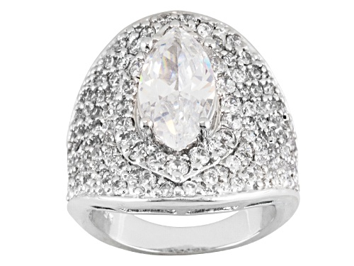 Photo of Pre-Owned Bella Luce ® 7.60ctw Marquise And Round Rhodium Over Sterling Silver Ring - Size 6