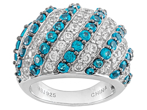 Photo of Pre-Owned 2.03ctw Round Neon Apatite With 1.63ctw Round White Zircon Sterling Silver Dome Ring - Size 5