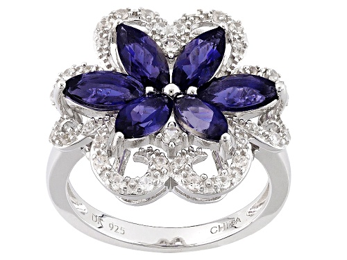 Photo of Pre-Owned 1.57ctw Marquise Iolite With .37ctw Round White Zircon Sterling Silver Floral Ring - Size 6