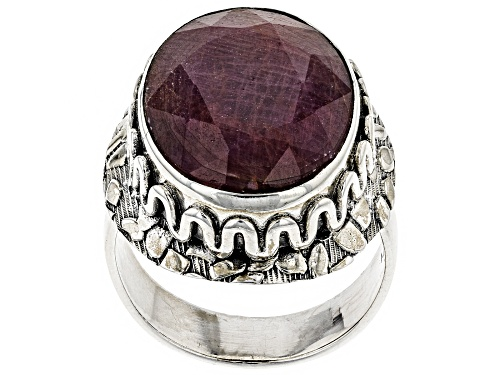 Photo of Pre-Owned 16.52CT OVAL INDIAN RUBY SOLITAIRE STERLING SILVER RING - Size 10