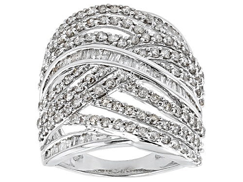 Photo of Pre-Owned 2.12ctw Round And Baguette Diamond 10k White Gold Ring - Size 7