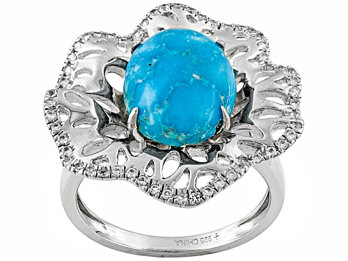 Photo of Pre-Owned Tehya Oyama Turquoise™ Blue Kingman Turquoise And .59ctw White Topaz Silver Over Brass Rin - Size 9