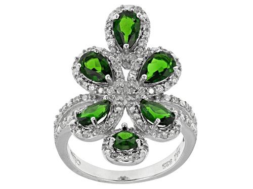 Photo of Pre-Owned 2.76ctw Pear Shape Russian Chrome Diopside With .45ctw Round White Zircon Sterling Silver - Size 11
