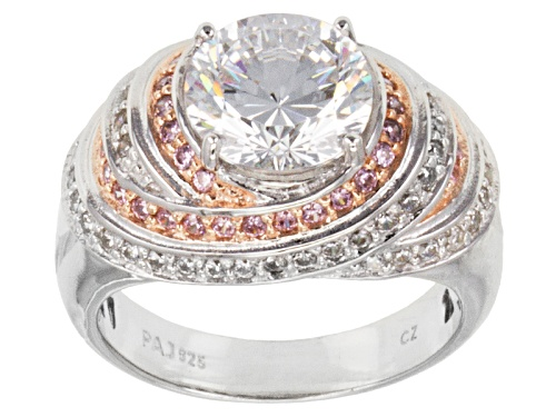 Photo of Pre-Owned Bella Luce® Dillenium Cut 5.91ctw Pink/Diamond Simulants Eterno™ Rose & S/S Ring (3.63ctw - Size 5