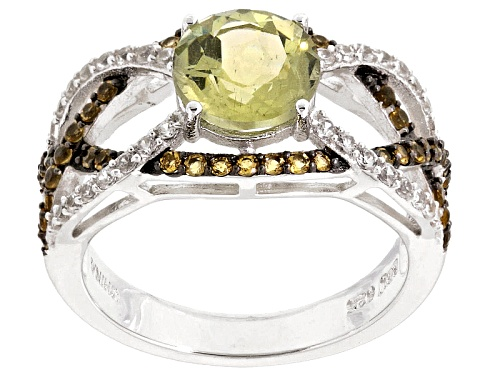 Photo of Pre-Owned Yellow Apatite, Citrine And White Zircon Sterling Silver Ring. 2.53ctw