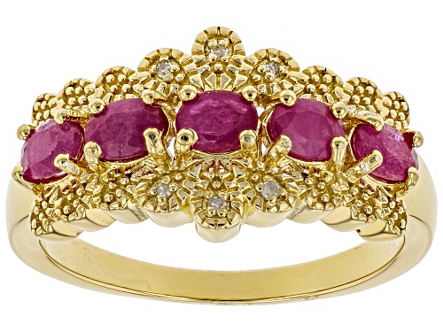 Photo of Pre-Owned 1.06ctw oval Burmese ruby with .01ctw round white diamond accent 18k gold over silver band - Size 5