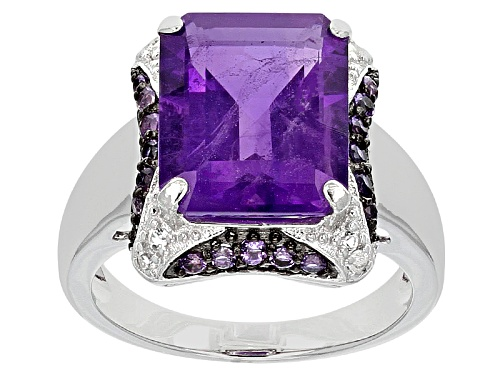 Photo of Pre-Owned 5.60ctw Emerald Cut And Round African Amethyst With .01ctw Round White Topaz Silver Ring - Size 11