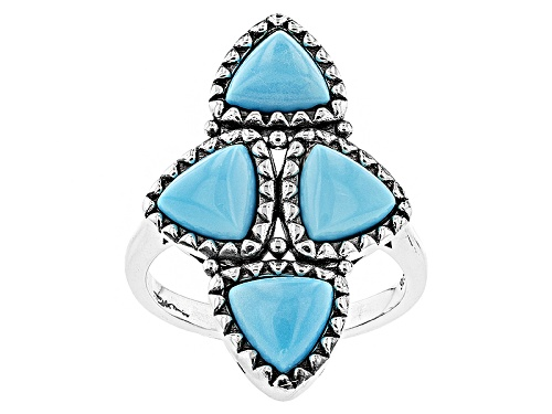 Photo of Pre-Owned Southwest Style By Jtv™ 7mm Triangle Cabochon Sleeping Beauty Turquoise Sterling Silver Ri - Size 5