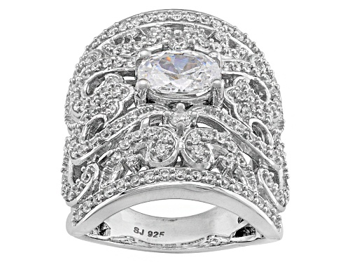 Photo of Pre-Owned Bella Luce ® 4.40ctw Oval And Round Rhodium Over Sterling Silver Ring - Size 6
