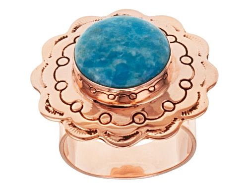 Photo of Pre-Owned Southwest Style By Jtv™ Cabochon Round Morenci Turquoise 18k Rose Gold Over Sterling Silve - Size 7