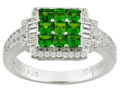 Photo of Pre-Owned .76ctw Square Russian Chrome Diopside With .59ctw Round White Zircon Sterling Silver Ring - Size 11