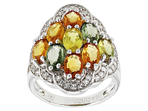 Photo of Pre-Owned 4.50ctw Oval Multi Sapphire And .15ctw Round White Zircon Sterling Silver Ring - Size 11