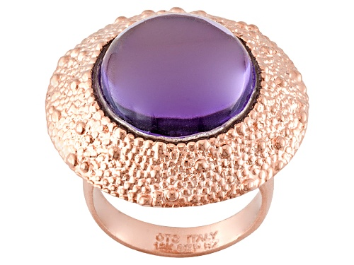 Photo of Pre-Owned Moda Al Massimo® Purple Glass Cabochon 18k Rose Gold Over Bronze Textured Ring - Size 9