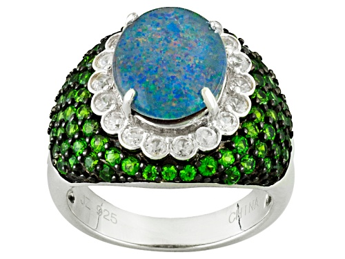 Photo of Pre-Owned Oval Opal Triplet With 1.76ctw Chrome Diopside With .82ctw White Zircon Silver Ring - Size 5