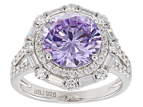 Photo of Pre-Owned Bella Luce ® 8.66CTW Lavender And White Diamond Simulants Rhodium Over Silver Ring (4.98CT - Size 5