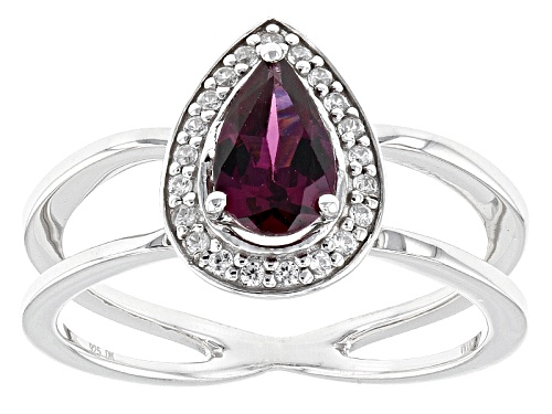 Photo of Pre-Owned .76ct Pear Shape Raspberry color Rhodolite And .16ctw Round White Zircon Sterling Silver R - Size 12