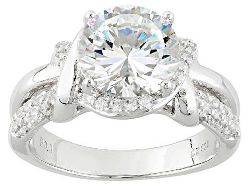 Photo of Pre-Owned Bella Luce® Dillenium Cut 5.18ctw Diamond Simulant Rhodium Over Sterling Silver Ring (3.13 - Size 8