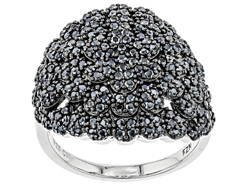 Photo of Pre-Owned 1.55ctw Round Black Spinel Rhodium Over Sterling Silver Dome Ring - Size 9