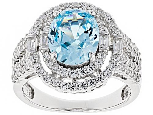 Photo of Pre-Owned Bella Luce®6.24ctw Aquamarine and White Diamond Simulants Rhodium Over Sterling Ring - Size 7