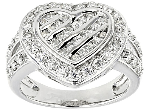 Photo of Pre-Owned Moissanite Fire® 1.03ctw Diamond Equivalent Weight Round Platineve™ Ring - Size 10