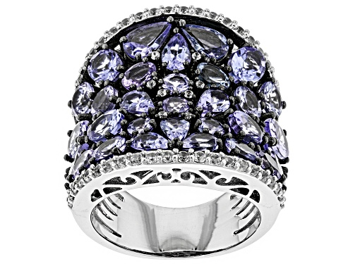 Photo of Pre-Owned 6.84ctw Mixed Shapes Tanzanite & .84ctw Zircon Rhodium Over Sterling Silver Band Ring - Size 8
