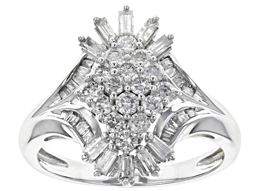Photo of Pre-Owned 1.00ctw Round And Baguette White Diamond 10K White Gold Ring - Size 9