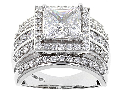 Photo of Pre-Owned Bella Luce ® 7.43ctw Diamond Simulant Rhodium Over Sterling Silver Ring (4.36ctw Dew) - Size 11