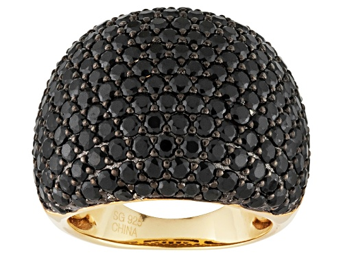 Photo of Pre-Owned  7.66ctw Round Black Spinel 18k Yellow Gold Over Sterling Silver Ring - Size 5