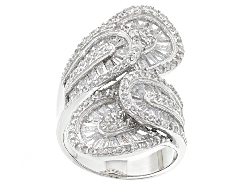 Photo of Pre-Owned Bella Luce ® White Diamond Simulant 5.96ctw Rhodium Over Sterling Silver Ring (3.64ctw Dew - Size 6