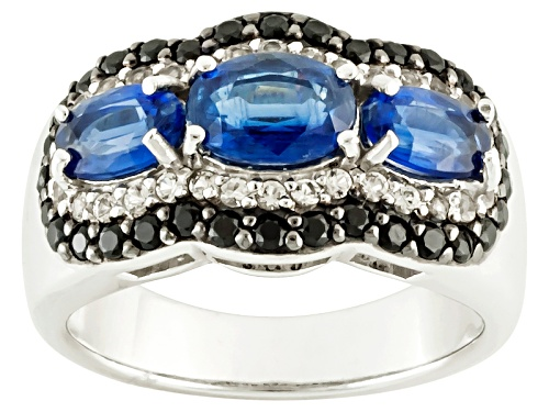 Photo of Pre-Owned 1.94ctw Oval Kyanite, .20ctw Round White Topaz, And .41ctw Black Spinel Sterling Silver Ri - Size 5
